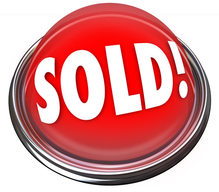 sold out: Sold word on a red light or button to illustrate the final closing price or deal on an auction or sale of merchandise Stock Photo