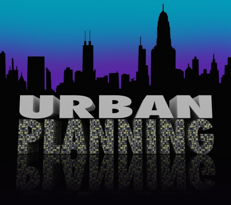 Urban Planning words on a city skyline silhouette at night time to illustrate the need to design a plan for the growth of buildings and neighborhoods photo
