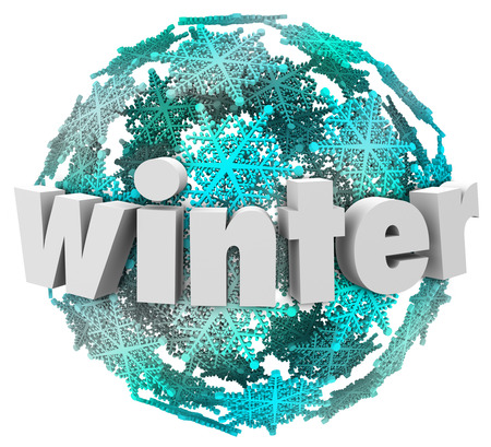frigid: Winter word in 3d letters on a ball of snowflakes or blue and white snow ball to illustrate the change of seasons at the end of the year
