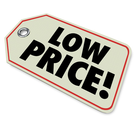 comparing: Low Price words on a clearance sale sticker for products or merchandise on discount for a special store or retail event