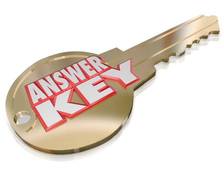 Answer Key words on a gold metal key to unlock solutions and classified information related to your qestion or inquiry, for a test or quiz Stock Photo - 24509881