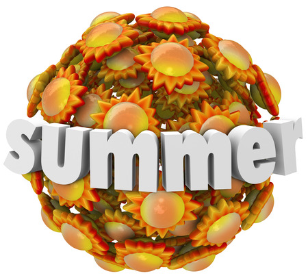 warmer: Suumer word in 3d letters on a ball of orange and yellow suns to illustrate the change of seasons to warmer and hot months Stock Photo