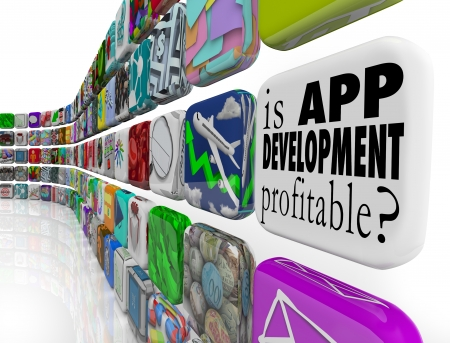 Is App Development Profitable question on an application tile or icon in a wall of software and programs designed for mobile phones and tablet computers photo