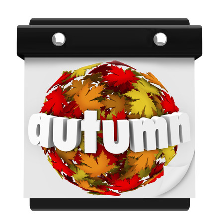 Autumn word on changing leaves color to illustrate start of new season in months of September, October and November photo