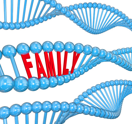 Family word in a 3d strand of DNA to illustrate hereditary traits or attributes passed from one generation to another Banque d'images