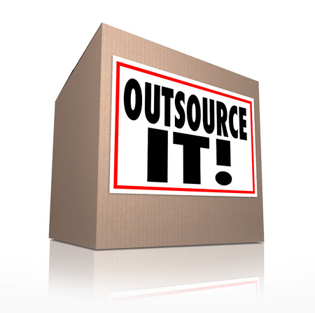 cheaper: Outsource It words on a cardboard box label to illustrate shipping or moving jobs, production or other work overseas or to a cheaper source of labor or materials