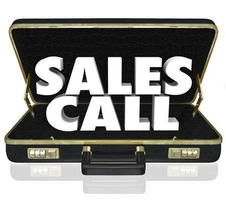 soliciting: Sales Call words in an open black leather briefcase to illustrate a selling presentation or proposal shown to customers, clients or prospects