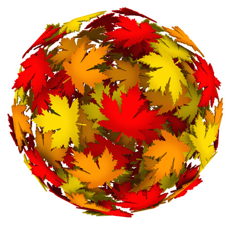 fallen: A ball or sphere of fallen leaves in different changing colors to illustrate the change of season to fall or autumn in a 3d background or design pattern