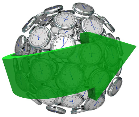 foresight: Arrow around ball or sphere of clocks to illustrate moving forward in time, increasing or improving toward a goal or strategy, or going faster or quicker to get a job done by a deadline Stock Photo