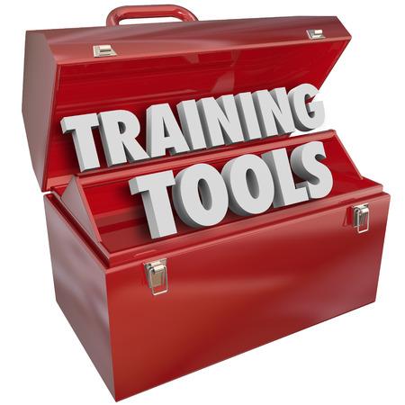 ก       tool: Training Tools words in red metal toolbox to illustrate skills and methods for learning new abilities to prepare you for success in your job, work, career or life