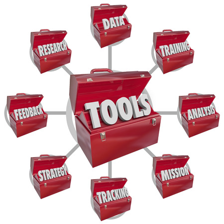 toward: Toolboxes containing needed ingredients and tools to achieving success in working toward a mission in your career or business including the words data, research, feedback, strategy, tracking, training and analysis