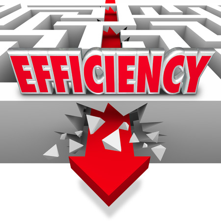 Efficiency word on a maze with an arrow breaking through walls and barriers to illustrate the best shortcut to achieving a goal or mission photo