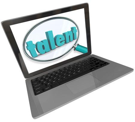 yetenekli: Bir dizüstü bilgisayar ekranında bir büyüteç altında yetenek kelimesi bir gösteri ya da iş için yetenekli ve benzersiz yetenekli insanlar için bir çevrimiçi veya web sitesi tabanlı arama göstermek için