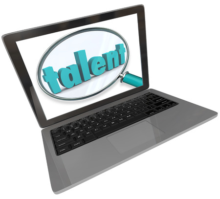 talent show: Talent word under a magnifying glass on a laptop computer screen to illustrate an online or website based search for talented and unique skilled people for a show or job
