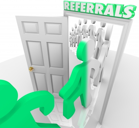 Referrals doorway and customers marching through after being referred by friends and family to visit a store and purchase goods and services