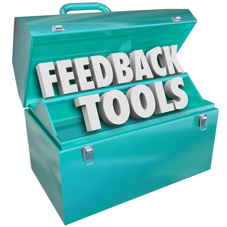 Feedback Tools words in a blue metal toolbox to illustrate methods such as online collection of surveys, comments, reviews, ratings and opinions of products and services photo