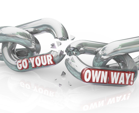 unchained: Go Your Own Way words breaking chain links splitting up with a partner or employer to be independent and achieve what you want  Stock Photo