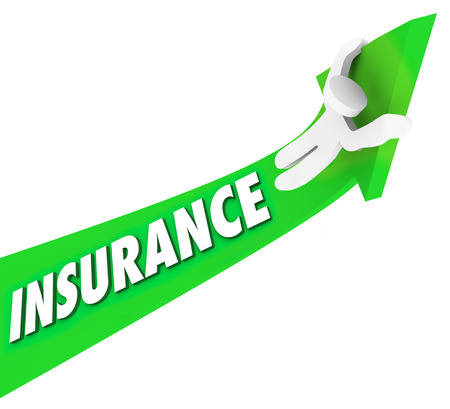 price uncertainty: Insurance word on an arrow and a man riding it high and higher to illustrate rising costs and expeses of medical coverage and policies Stock Photo