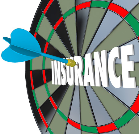 health care decisions: Insurance word on a dart board to illustrate choosing the best coverage plan or policy for you and your familys health care and medical expenses Stock Photo