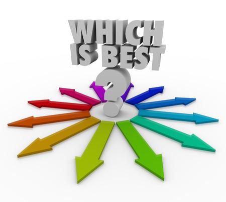 クエスチョン マークおよび機会とキャリアの選択肢の仕事や生活の中の異なるパスを説明するために多くの色の矢印の上最高の言葉であります。 写真素材