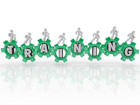 Training word in green gears people marching toward knowledge, education, skills and expertise to use in your job, career or life