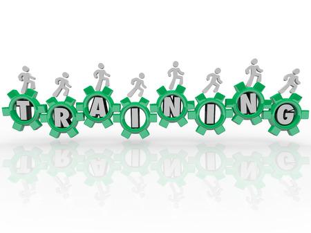 teknik: Utbildning ord i gröna kugghjul folk marscherar mot kunskap, utbildning, kompetens och expertis för att använda i ditt jobb, karriär eller liv