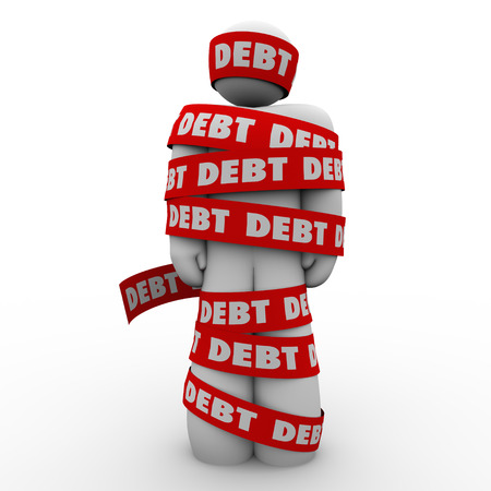 budgetary: Debt word man wrapped in tape illustrating budget trouble, bankruptcy or financial shortfall trapping someone from achieving money riches or security Stock Photo