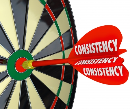 dependable: Consistency dart makes direct hit on dartboard to illustrate dependability and reliability in achieving a perfect score over again in a game, competition or challenge in job, career or life Stock Photo