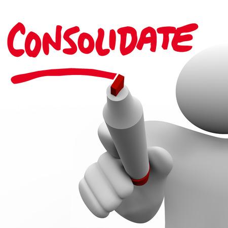 apalancamiento: Consolidar la palabra escrita en una placa por un hombre con un marcador o un bol�grafo para ilustrar la fuerza de la combinaci�n de dos grupos o empresas en una empresa u organizaci�n m�s grande Foto de archivo