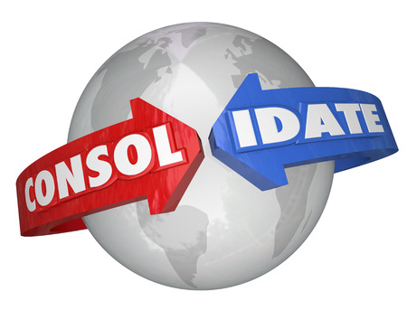 The word Consolidate on arrows around a globe or planet Earth to illustrate the international growth and increased market share of combining two or multiple unites into a consolidation business Stock Photo - 24709435