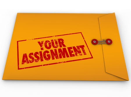 containing: Your Assignment words in stamp on yellow envelope containing secret plans and instructions for your homework, task, objective or mission