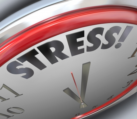 Stress word on a clock countdown to the deadline of time to finish a task or complete a mission or objective  Stok Fotoğraf