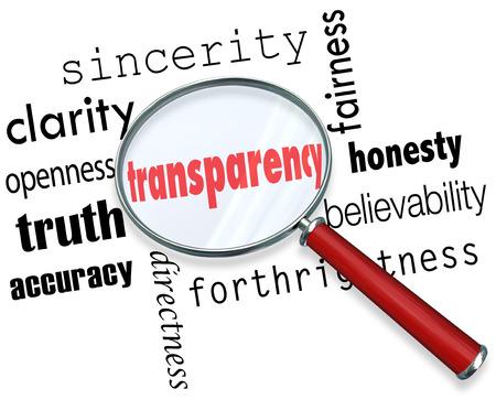Transparenz Wort Lupe Suche nach Aufrichtigkeit, Klarheit, Offenheit, Wahrheit, Richtigkeit, Direktheit, Fairness, Ehrlichkeit, Glaubwürdigkeit und Offenheit