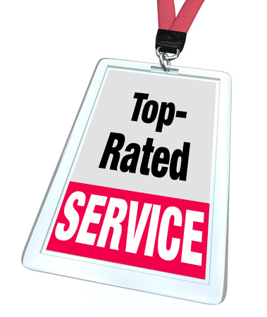 rating: Top Rated Service words employee badge lanyard or nametag to illustrate a worker or customer support personnel helping customers
