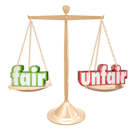 cons: Fair Vs Unfair words on a gold scale or balance to illustrate and compare justice and injustice in legal or business matters Stock Photo