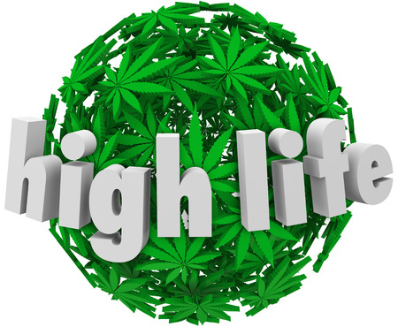 High Life words on ball or sphere of marijuana leaves  photo