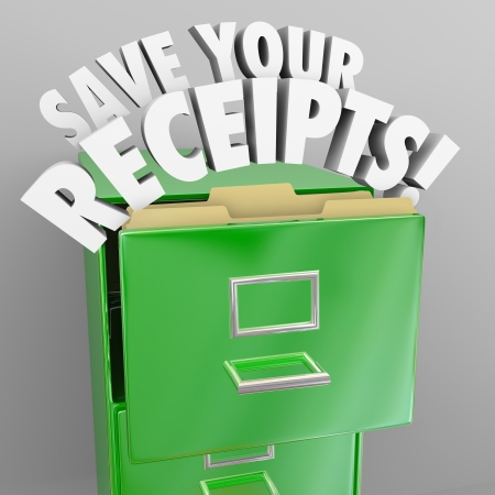organizing: Save Your Receipts words in green file cabinet Stock Photo