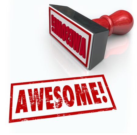 tremendous: Awesome word stamped by a rubber stamp