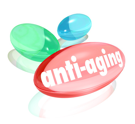 anti aging: Anti-Aging words on vitamins