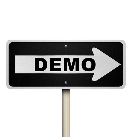 examples: Demo road sign arrow pointing to product or service demonstration for free trial or exploratory period