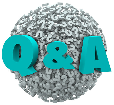 q: Q and A letters on a ball or sphere of question marks to illustrate asking for customer support, service, answers, solutions, instructions or advice in solving a problem