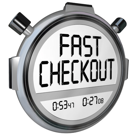 checkout: Fast Checkout words on a stopwatch or timer to record how quickly you can complete a purchase process at a store or online retailer