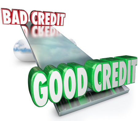 Good Credit vs Bad illustrated on a scale, see-saw or balance as a comparison of improving money financial rating in borrowing funds for a loan or mortgage photo