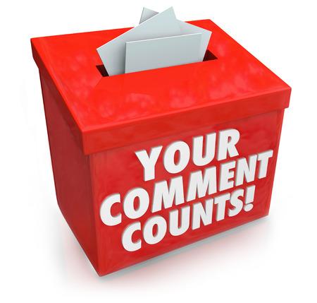 Tu comentario Counts palabras en un buzón de sugerencias rojo para ilustrar el valor y la importancia de la retroalimentación, opiniones, sugerencias e ideas de intercambio de ideas
