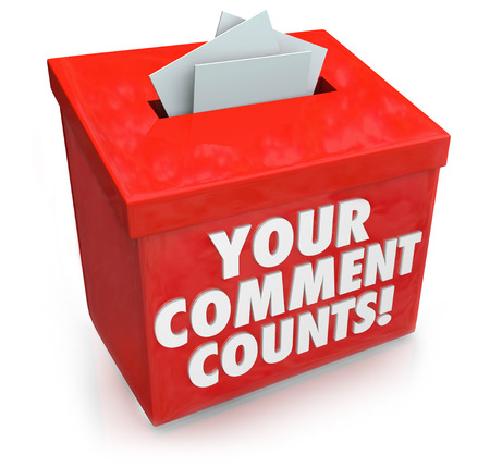 an opinion: Your Comment Counts words on a red suggestion box to illustrate the value and importance of feedback, opinions, suggestions and brainstorming ideas Stock Photo