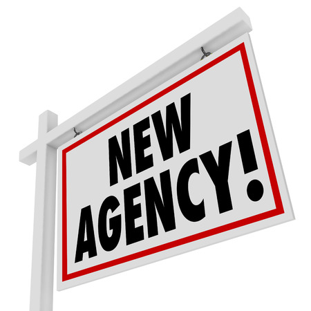 special agent: New Agency real estate home for sale sign to illustrate or announce a recently opened agent business to help sell your house or find one to buy Stock Photo