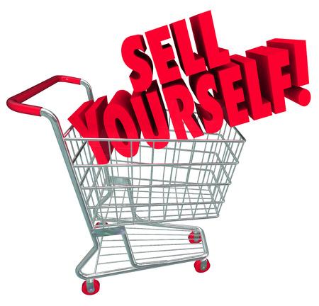 zelf doen: Verkoop jezelf woorden op een winkelwagentje in 3d woorden om kennis en vaardigheden te bevorderen bij het interviewen voor een baan of het bevorderen van je carrière
