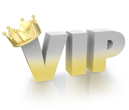 The words or acronym VIP with a gold crown on the letter V to illustrate a Very Important Person such as a king, queen, politician, celebrity, executive or officer of high regard photo