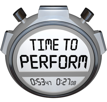 implement: Time to Perform words on a stopwatch or timer to illustrate now is the moment to take action and implement or execute a task or job to overcome a challenge Stock Photo