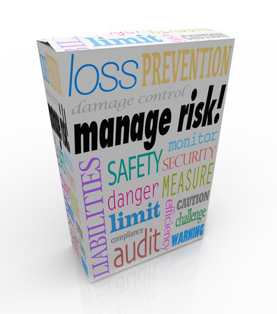 damage control: Manage Risk words on a product, box or package to illustrate a service that you can buy to limit your liability or loss and safeguard your security Stock Photo